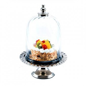 Aluminium Cake Stand with Glass Lid